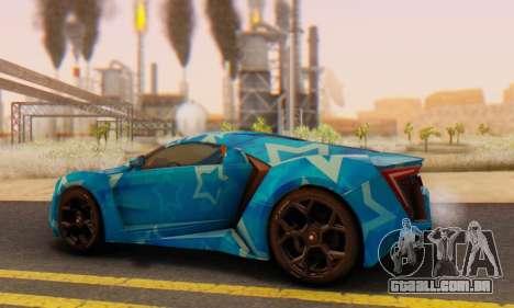 W-Motors Lykan Hypersport 2013 Blue Star para GTA San Andreas vista interior