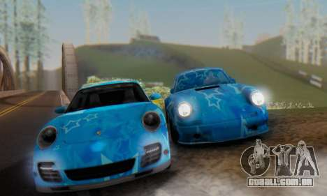 Porsche 911 Turbo Blue Star para GTA San Andreas vista direita
