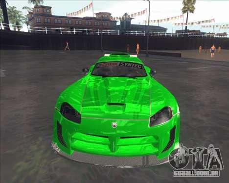 Dodge Viper SRT do NFS MW para GTA San Andreas esquerda vista