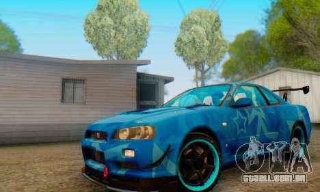 Nissan Skyline GTR 34 Blue Star para GTA San Andreas esquerda vista