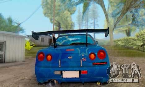 Nissan Skyline GTR 34 Blue Star para GTA San Andreas traseira esquerda vista