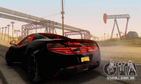 Mclaren MP4-12C Spider Sonic Blum para GTA San Andreas traseira esquerda vista
