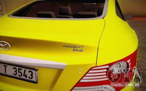 Hyundai Accent Taxi 2013 para GTA San Andreas vista direita