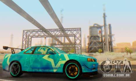 Nissan Skyline GTR 34 Blue Star para vista lateral GTA San Andreas
