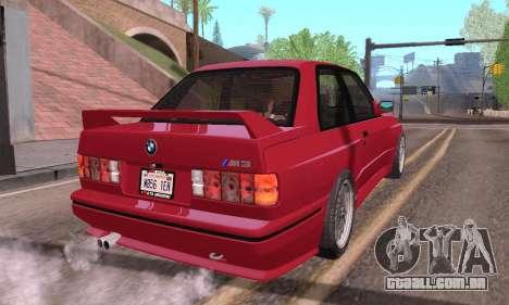 BMW E30 M3 1991 para GTA San Andreas esquerda vista