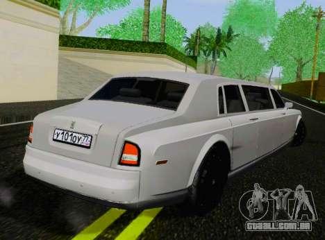 Rolls-Royce Phantom Limo para GTA San Andreas traseira esquerda vista
