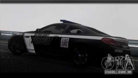 BMW M6 Coupe Redview Police para GTA San Andreas esquerda vista