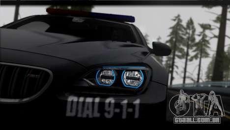 BMW M6 Coupe Redview Police para GTA San Andreas traseira esquerda vista