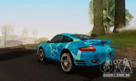 Porsche 911 Turbo Blue Star para GTA San Andreas vista traseira