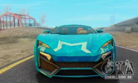 W-Motors Lykan Hypersport 2013 Blue Star para GTA San Andreas traseira esquerda vista