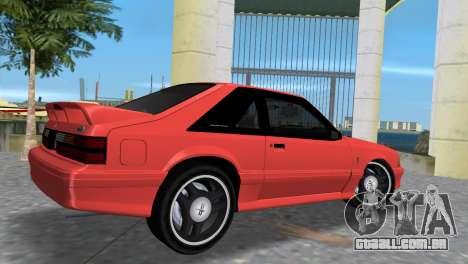 Ford Mustang Cobra 1993 para GTA Vice City vista traseira esquerda