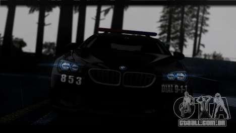 BMW M6 Coupe Redview Police para GTA San Andreas vista traseira