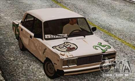 VAZ 2107 GVR para GTA San Andreas traseira esquerda vista