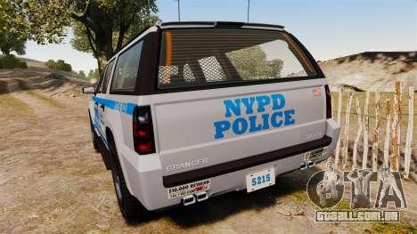 GTA V Declasse Granger NYPD para GTA 4 traseira esquerda vista