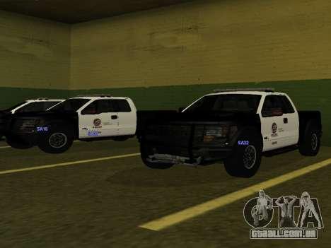 LAPD Ford F-150 Raptor para GTA San Andreas traseira esquerda vista