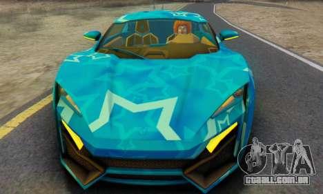 W-Motors Lykan Hypersport 2013 Blue Star para GTA San Andreas esquerda vista