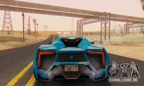 W-Motors Lykan Hypersport 2013 Blue Star para GTA San Andreas vista traseira