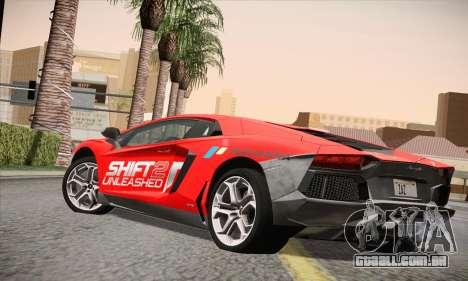 Lamborghini Aventador LP700-4 para GTA San Andreas esquerda vista