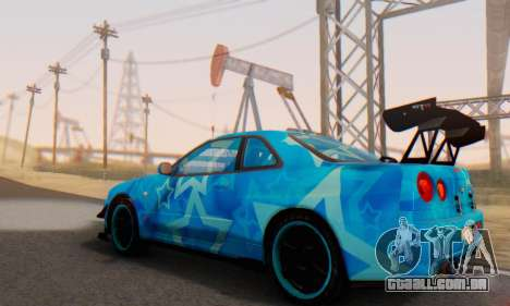 Nissan Skyline GTR 34 Blue Star para GTA San Andreas vista inferior