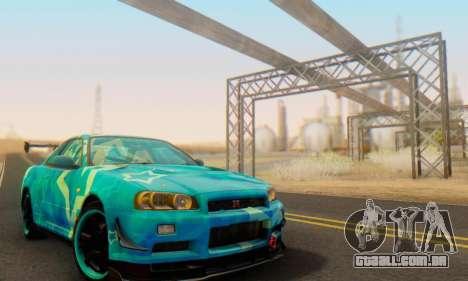 Nissan Skyline GTR 34 Blue Star para GTA San Andreas vista interior