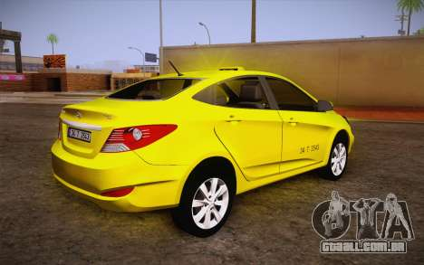 Hyundai Accent Taxi 2013 para GTA San Andreas esquerda vista
