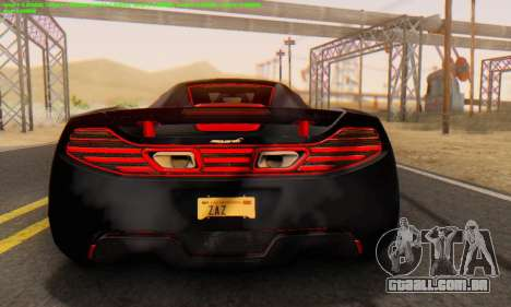 Mclaren MP4-12C Spider Sonic Blum para GTA San Andreas vista direita