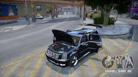 Cadillac Escalade para GTA 4 vista de volta