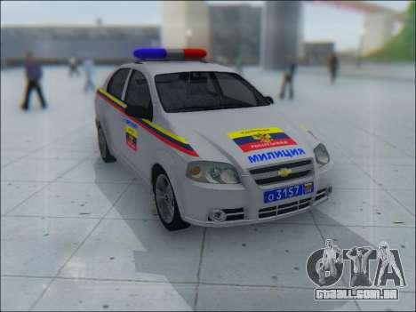 Chevrolet Aveo Милиция OHP para GTA San Andreas interior