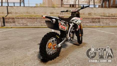 Yamaha YZF-450 v1.5 para GTA 4 traseira esquerda vista