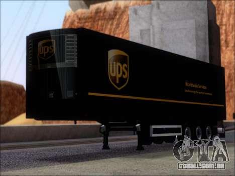 Прицеп United Parcel Service para GTA San Andreas esquerda vista
