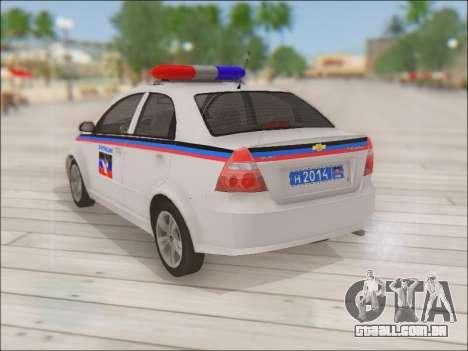 Chevrolet Aveo Polícia DND para GTA San Andreas traseira esquerda vista