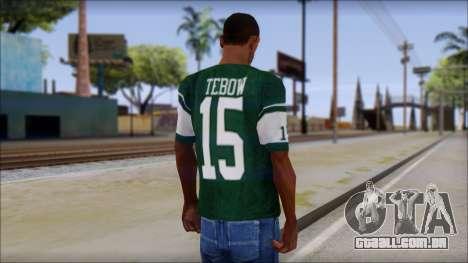 New York Jets 15 Tebow Green T-Shirt para GTA San Andreas segunda tela