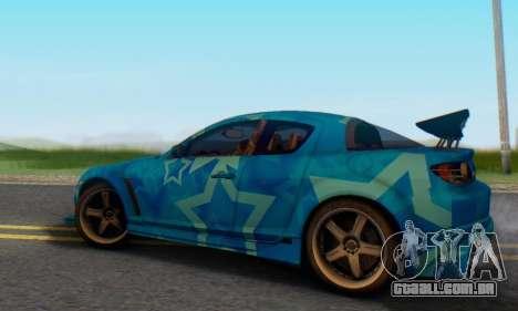Mazda RX-8 VeilSide Blue Star para GTA San Andreas traseira esquerda vista