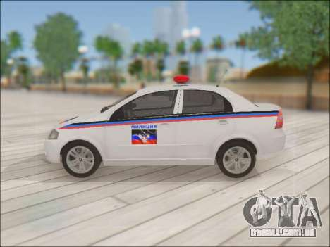 Chevrolet Aveo Polícia DND para GTA San Andreas esquerda vista