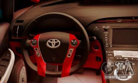 Toyota Prius Hybrid 2011 Helaflush para GTA San Andreas vista interior