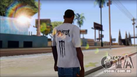 Monster Black And White T-Shirt para GTA San Andreas segunda tela