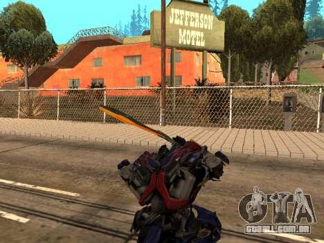 Optimus Sword para GTA San Andreas oitavo tela