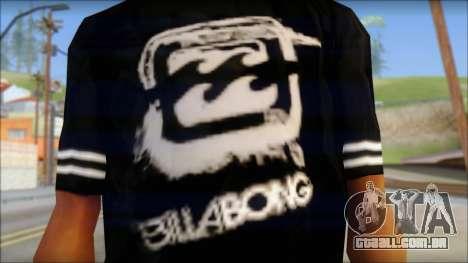Billabong T-Shirt Black para GTA San Andreas terceira tela