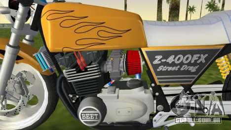 Kawasaki Z400FX Street Drag Racer para GTA Vice City vista traseira esquerda