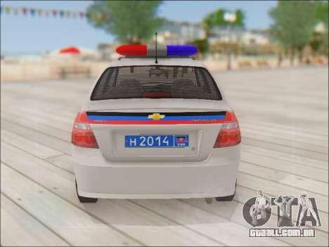 Chevrolet Aveo Polícia DND para GTA San Andreas vista direita