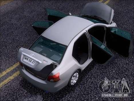 Toyota Yaris 2008 Sedan para GTA San Andreas vista inferior