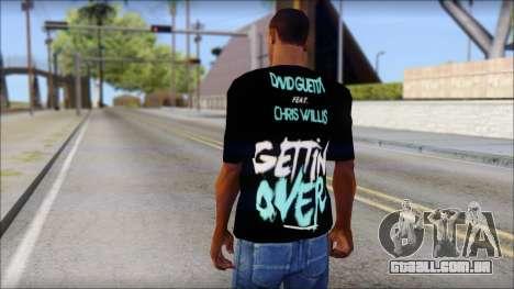 David Guetta Gettin Over T-Shirt para GTA San Andreas segunda tela