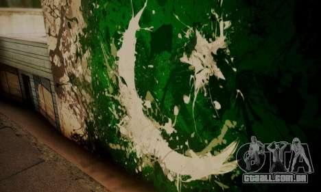 Pakistani Flag Graffiti Wall para GTA San Andreas terceira tela