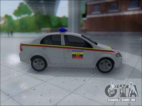 Chevrolet Aveo Милиция OHP para GTA San Andreas traseira esquerda vista