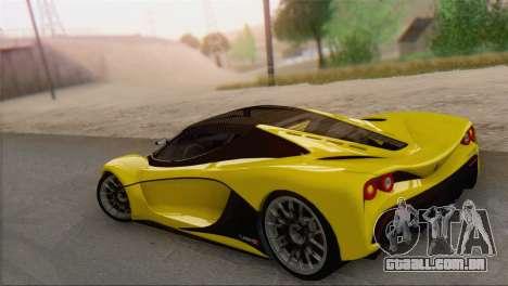 GTA V Turismo R para GTA San Andreas esquerda vista