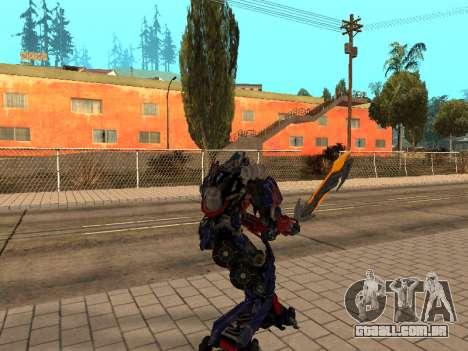 Optimus Sword para GTA San Andreas terceira tela