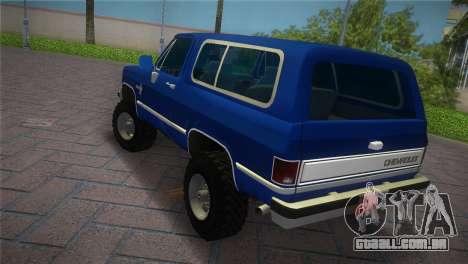 Chevrolet Blazer K5 Silverado 1986 para GTA Vice City deixou vista