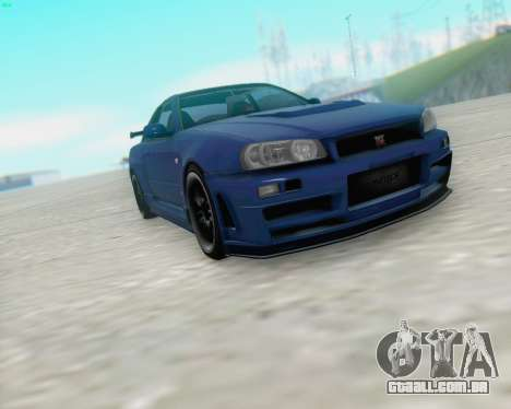 Nissan Skyline R34 Fast and Furious 4 para GTA San Andreas esquerda vista