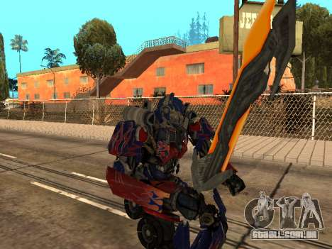 Optimus Sword para GTA San Andreas nono tela