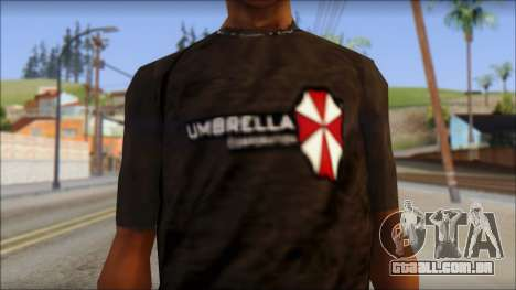 Umbrella Corporation Black T-Shirt para GTA San Andreas terceira tela